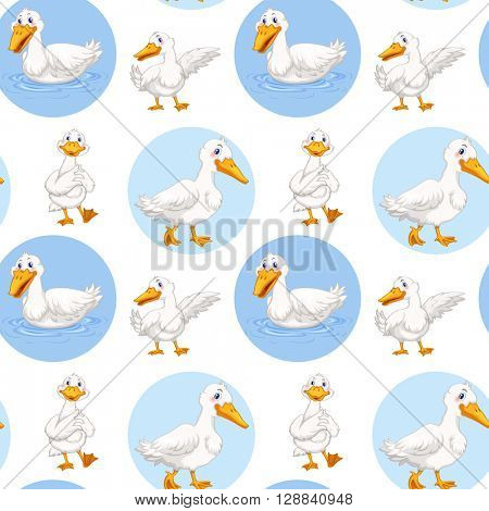 Seamless duck walking and swimming illustration