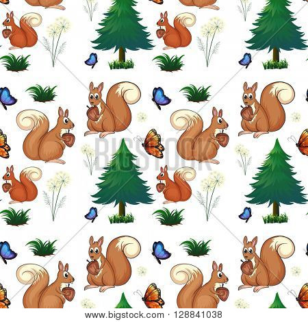 Squirrels and pine trees illustration