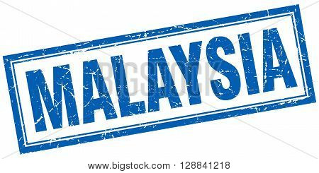 Malaysia blue square grunge stamp on white