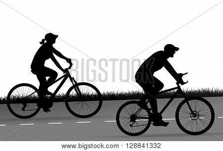 two cyclists silhouette are riding outdoors vector