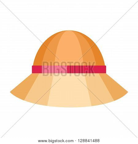 Summer hat isolated on white background. Fashionable orange Panama hat with red ribbon for protection from sun and rain weather conditions. Garment for wearing on the head. Vector illustration