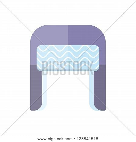 Winter fur blue wool hat icon. Knitted winter woolen cap isolated on white background. Flat icon winter snowboard hat cap ear-flaps. Vector illustration