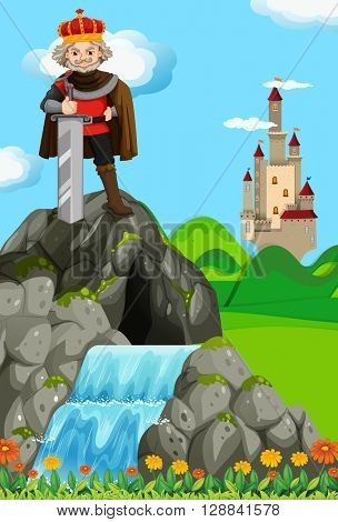 King with giant sword in his kingdom illustration