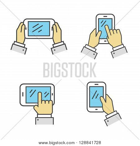 Set of phone in hand isolated sign. Digital tablet in human hands. Use the touchscreen phone. A collection of ways to keep in hand smartphone isolated on white background. Vector illustration