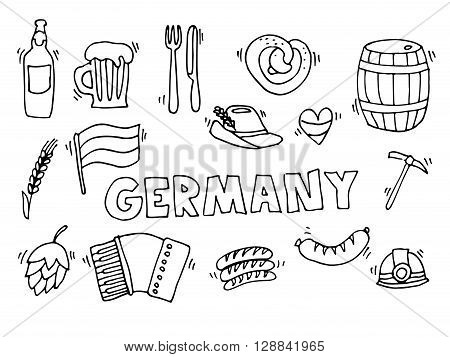 Germany travel traditional food and attractions concept icons set. Vector illustration