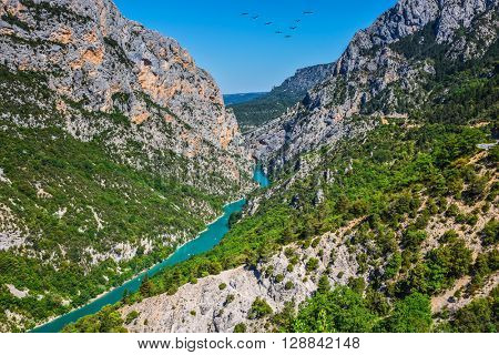 Canyon of Verdon, Provence. The largest alpine canyon Verdon spring. Turquoise water of the river is flowing at the bottom of the gorge