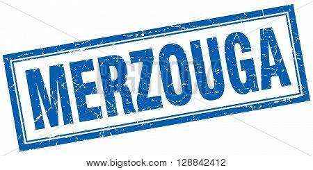 Merzouga blue square grunge stamp on white