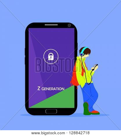 Z generation illustration. Teenage boy with a phone and headphones, standing near the big smartphone.