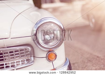 Headlight lamp vintage classic car with vintage effect