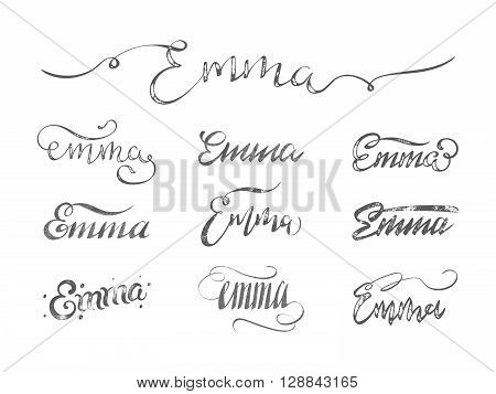 Personal name Emma. Vector grunge calligraphy set. Handmade lettering collection