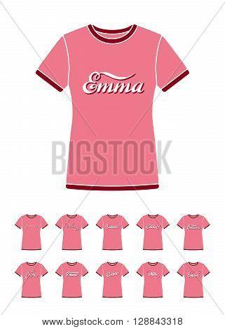Personal name Emma. Vector handwritten calligraphy T-Shirt design set