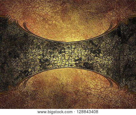 Grunge Cracked Structure With A Yellow Tinge To Dark Plate. Template For Design. Copy Space For Ad B