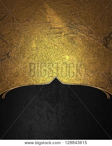 Grunge Golden Texture With Black Edge. Template For Design. Copy Space For Ad Brochure Or Announceme