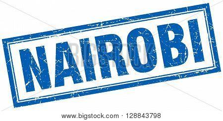 Nairobi blue square grunge stamp on white