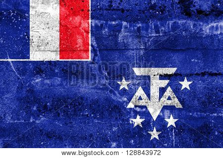 Flag Of The French Southern And Antarctic Lands, Painted On Dirty Wall. Vintage And Old Look.