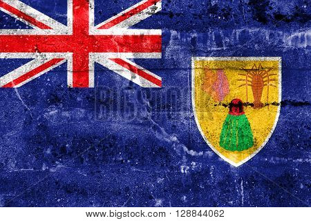 Flag Of Turks And Caicos Islands, Painted On Dirty Wall. Vintage And Old Look.