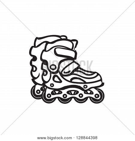 Image of roller skates. Black and white image of roller skates icon. line style roller skates.