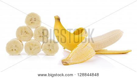 A bananas are on the white background