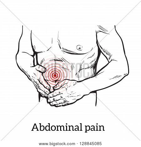 Abdominal pain in men, stomach and bowel disease, digestive problems, sick intestines, sketch hand-drawn image of the man holding his sick stomach, detailed image of the stomach, health problem