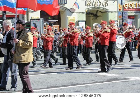 St. Petersburg, Russia - 1 May, Brass band on May Day, 1 May, 2016. Day festive demonstration on the Nevsky Prospect in St. Petersburg, the first of May.