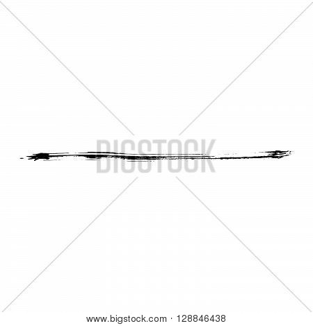 Grunge Brush Stroke Vector. Distressed Brush Black. Textured paint brushes. Old ink line paint uneven brush