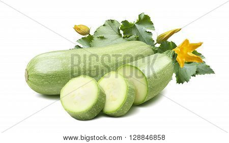 Zucchini squash vegetable marrow green leaf flowers 3 isolated on white background as package design element