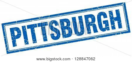 Pittsburgh blue square grunge stamp on white
