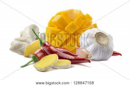 Mango chili ginger garlic basic chutney mix isolated on white background as package design element