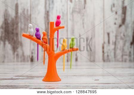 Fruit Or Dessert Bird Toothpicks On Tree Shaped Stand Holder