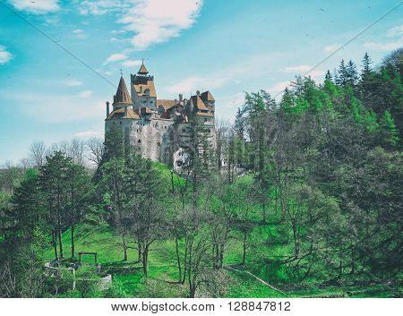 Vintage view of Bran castle and spring landscape,Transylvania,Romania