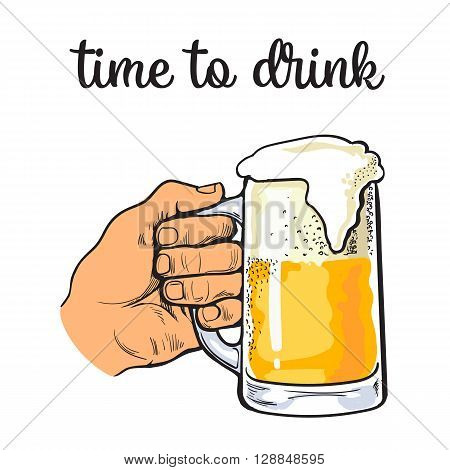 Hand holding a full glass of beer, vector illustration sketch narisovany by hand, isolation on a white background male hand with a mug of foamy golden beer, the concept of time to drink alcohol