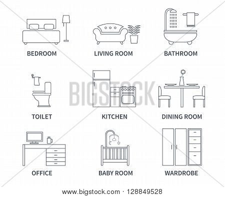 Home interior design icons for bedroom living room bathroom kitchen dining room home office wardrobe baby room in line style. Vector icons set.