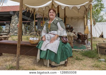 Woman With Medieval Costume Performing