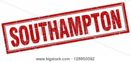 Southampton red square grunge stamp on white