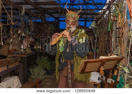 Man With Medieval Costume And Mask, Playing The Flute
