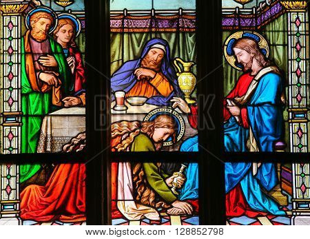 Mary Magdalen Anointing Christ's Feet - Stained Glass