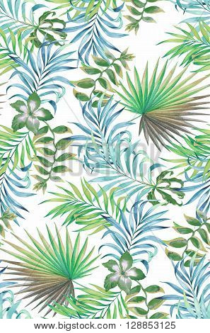 seamless floral pattern. tropical flowers on black background sexy and trendy faded washed colors and illustrations. Botanical accurate drawings of hibiscus palm heliconia.