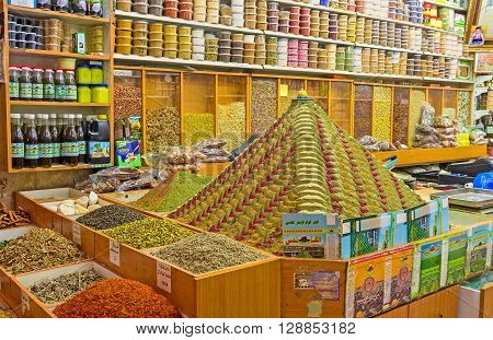 JERUSALEM ISRAEL - FEBRUARY 18 2016: The pyramid of spices topped with the small figurine of the Dome of the Rock is the best marketing decision of the spice shop in the old city on February 18 in Jerusalem.