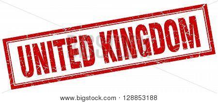 United Kingdom red square grunge stamp on white