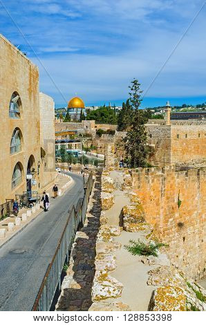 JERUSALEM ISRAEL - FEBRUARY 18 2016: The descent leads to the Western Wall and the Temple Mount on February 18 in Jerusalem.
