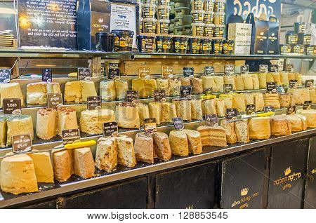 JERUSALEM ISRAEL - FEBRUARY 17 2016: The various types of halva the famous Eastern dessert in Mahane Yehuda market on February 17 in Jerusalem.