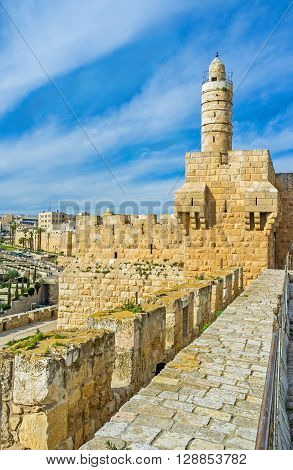 In the Middle Ages Ottomans installed a mosque in David's citadel and erected the slender minaret Jerusalem Israel.