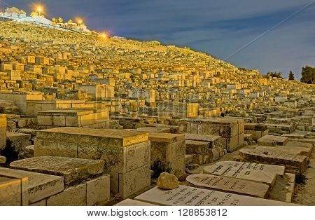 JERUSALEM ISRAEL - FEBRUARY 18 2016: The Jewish cemetery on the Mount of Olives covers all the on February 18 in Jerusalem.