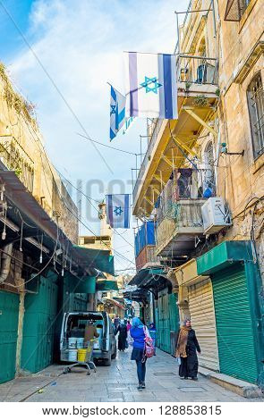 JERUSALEM ISRAEL - FEBRUARY 18 2016: The old market on Via Dolorosa is closed in the early morning on February 18 in Jerusalem.