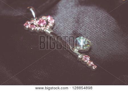 Pink Key Pendant Macro