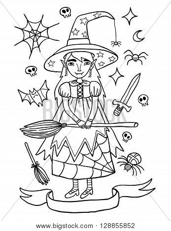 Cute little witch in purple dress. Outline illustration about witches holidays of or Helloween. Witchcraft everywhere.