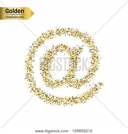 Gold glitter vector icon of e-mail isolated on background. Art creative concept illustration for web, glow light confetti, bright sequins, sparkle tinsel, abstract bling, shimmer dust, foil