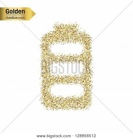 Gold glitter vector icon of battery isolated on background. Art creative concept illustration for web, glow light confetti, bright sequins, sparkle tinsel, abstract bling, shimmer dust, foil