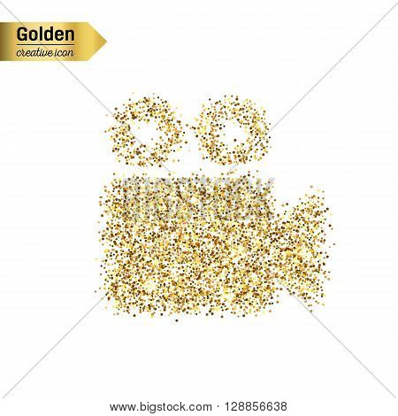 Gold glitter vector icon of video camera isolated on background. Art creative concept illustration for web, glow light confetti, bright sequins, sparkle tinsel, abstract bling, shimmer dust, foil