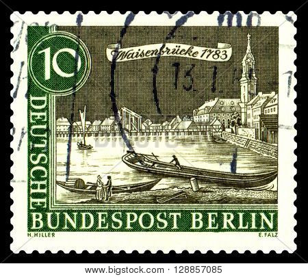 GERMANY - CIRCA 1962: a stamp printed in Germany shows View of Old Berlin Spree and Waisenbrucke 1783 circa 1962